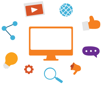 Content Marketing Icons with Computer, Megaphone, Chatting, Thumbs Up