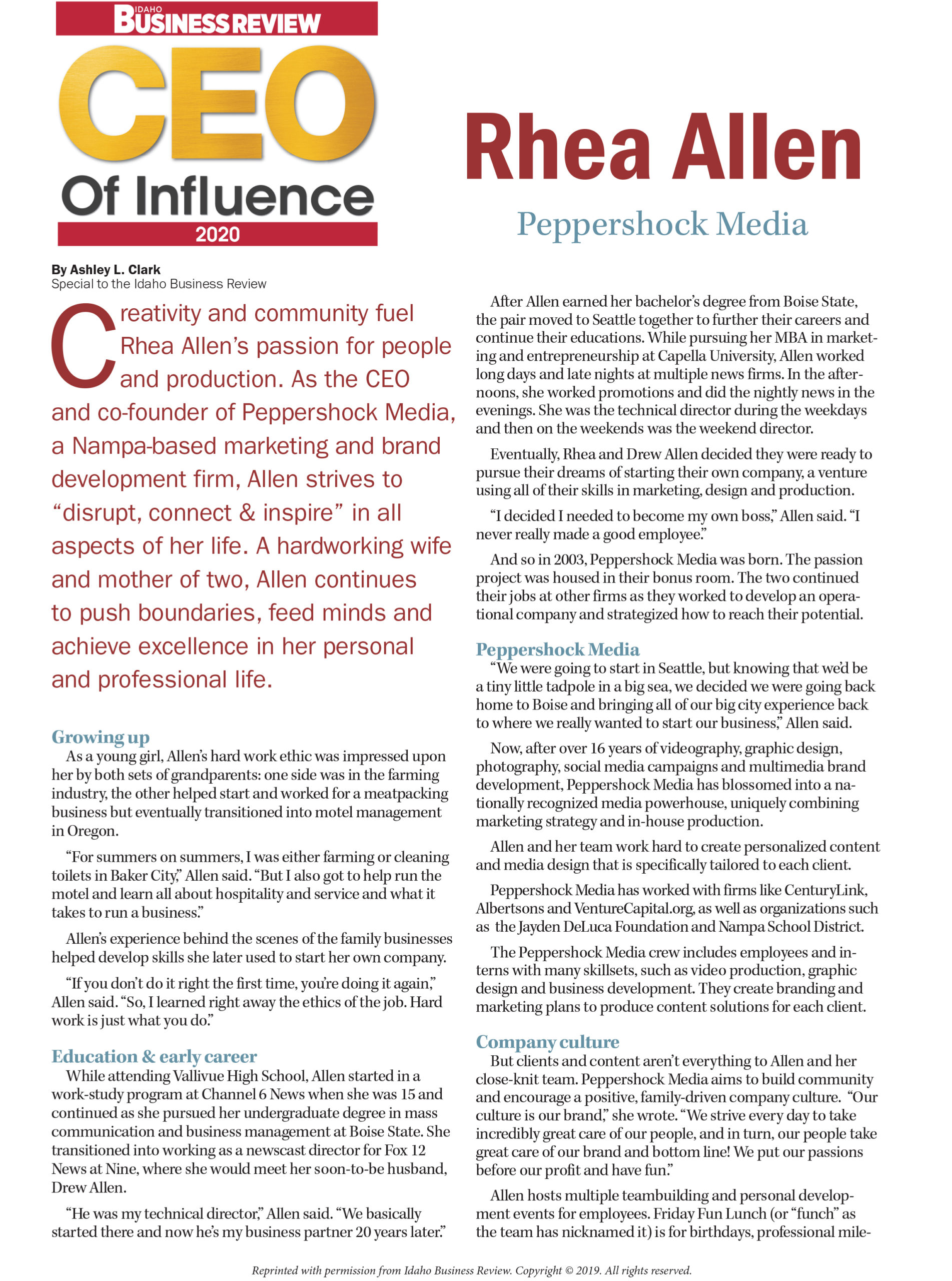 2020 CEO of Influence-Rhea Allen-Peppershock Media-Page-1