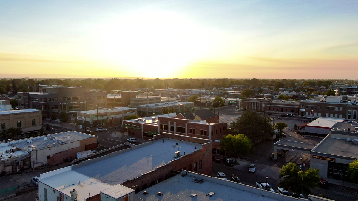 Downtown Nampa Aerial Sunset