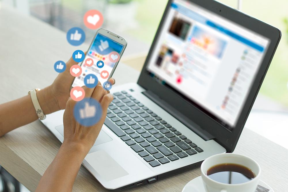 Computer and social media interacting