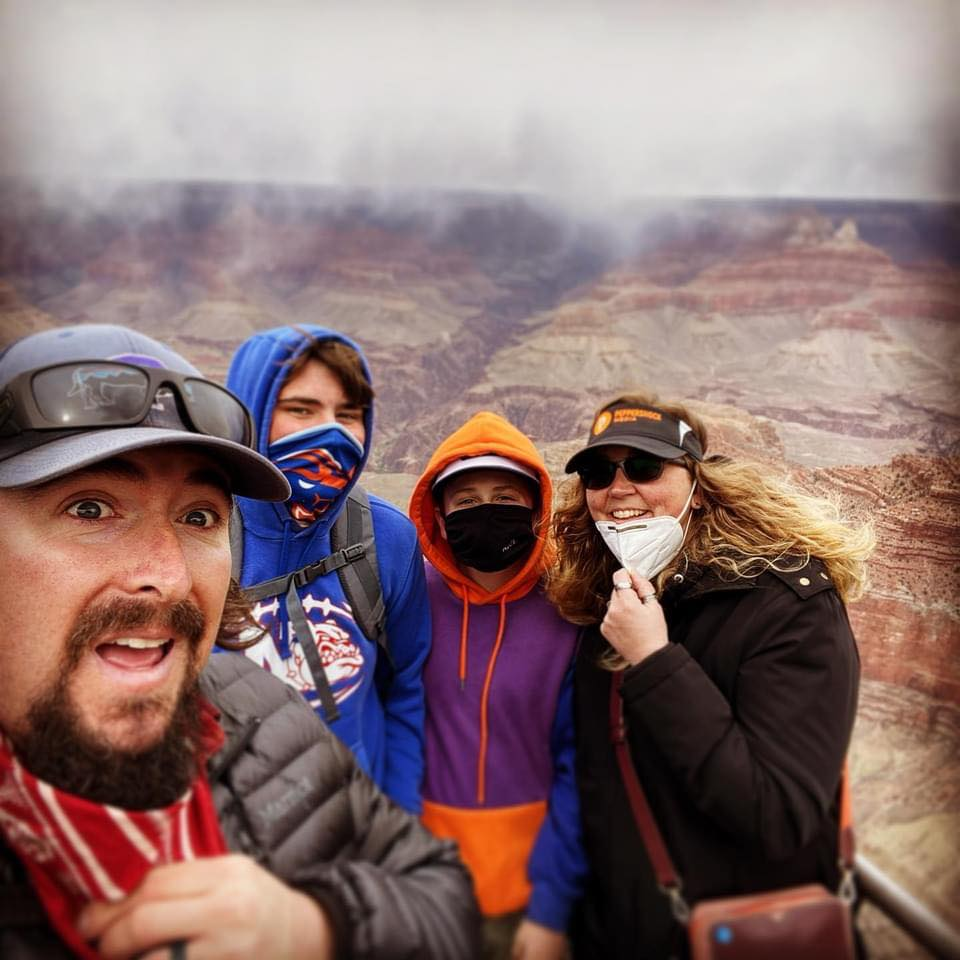Rhea, Drew, Kaden, and Emerson at the Grand Canyon